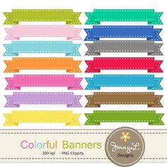 Colorful Stitched Ribbon Banners clipart for digital