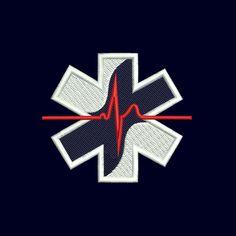 Broderie croix de vie medic line ECG rouge
