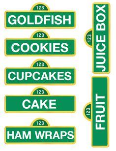 printable sesame street food signs