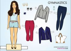 """Kate Middleton Paper Dolls, Just In Time For The Olympics  Who wouldn't want their own poshly dressed Kate Middleton to walk around with? What sort of outfit she is going to wear? """"opening ceremonies"""", """"gymnastics"""", """"tennis"""". and """"swimming""""!"""