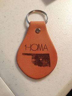 homa keychain. leather. oklahoma. love. state. heart. keys. black.. $10.50, via Etsy.