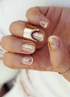 Nail polish: nail art, gold nails, glitter nails, glitter, negative space nail art, party make up - Wheretoget