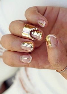 Nail polish: nail art, gold nails, glitter nails, glitter, negative space nail art, party make up - Wheretoget