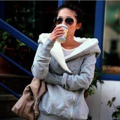 $31.63 Korea Women Hoodie Jacket Coat Warm Outerwear hooded Zip