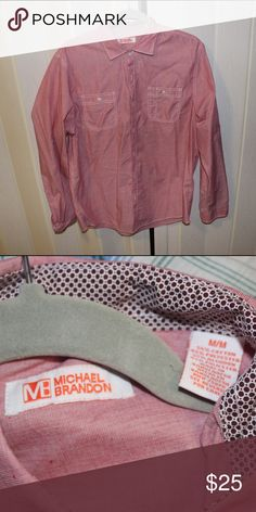 Men's red pink polo medium Worn once Michael Brandon Shirts Dress Shirts