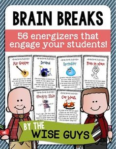 Brain Breaks for the Elementary Classroom! 56 Brain Break Activity Cards to energize your students! $