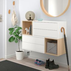 EKET Wall-mounted cabinet combination – white, white stained oak effect – IKEA – Corridor 2020 Ikea Eket, Flur Design, Ikea Design, Wall Design, Painted Drawers, White Stain, Wood And Metal, White White, Home Decor Ideas