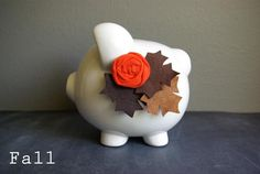 Seasonal Piggy Bank. So cute, I might do this!