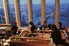 """Before the WTC terrorists came. """"Windows on the World"""" restaurant on top of the World Trade Center. (1976)"""