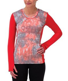 Take a look at this Marine Red Tie-Dye Thumbhole Top on zulily today!
