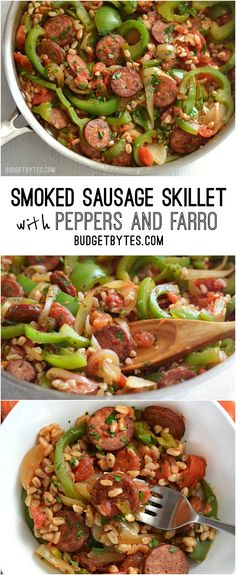 Another win from the Budget Bytes blog. We made this last night and it was amazing! Smoked Sausage Skillet with Peppers and Farro - BudgetBytes.com