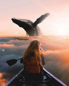 Стена Photomontage, Creative Photography, Art Photography, Amazing Photography, Foto Fantasy, Photographie Portrait Inspiration, Whale Art, Sea Whale, Montage Photo