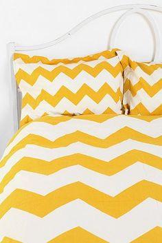 Yellow And White Zig Zag Dovet Pillow Cases Chevron Bedspreadchevron Pillowchevron Duvet Coversyellow Bedroomsyellow