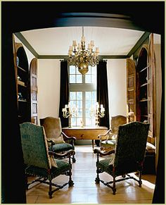 Lovely space.  Love doors on built-ins The Enchanted Home: Susan Ferrier