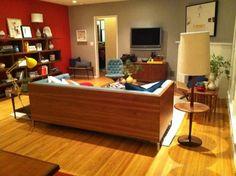 wood-backed sofa