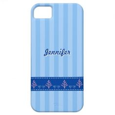 Blue Stripe with Love Heart on Stitched Ribbon | iPhone 5 Case