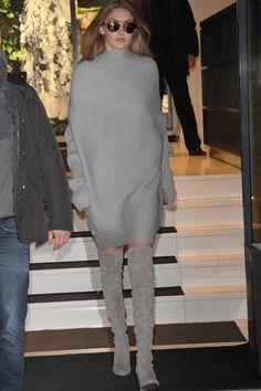 Gigi Hadid wearing Illesteva Milan IV Light Tortoise Sunglasses, Stuart Weitzman The Highland Boot, Designers Remix Ribly Drape Knitted Dress