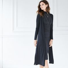 Take layering lightly with this duster coverup designed with weightless feel and drapey look. #WHBM