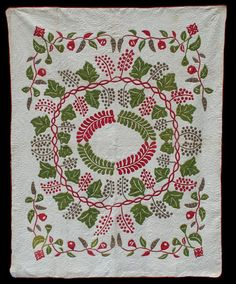 Wreath of grapes 1870 via the Quilt Complex. #vintagequilts