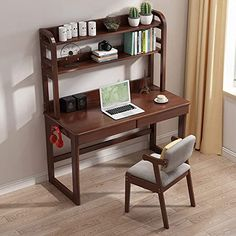 LCHAO Furniture Wooden Child's Learning Desk Bedroom Student Desk Great Gift for Girls and Boys(No Chair) (Color : Brown, Size : Wooden Study Table, Study Table And Chair, Wooden Desk, Table And Chairs, Kids Study Desk, Kid Desk, Study Table Designs, Desk Gifts, Bookshelf Desk