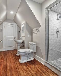 Updated Full Attic Bath with linen storage and penny tile shower @ Summit, New Jersey Laundry In Bathroom, Master Bathroom, Bathroom Renovations, Home Remodeling, Modern Bathroom Design, Kitchen Design, Home Addition Cost, Attic Spaces, Kitchen Remodel
