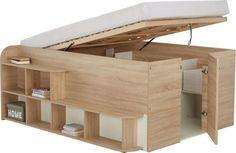 Zvýšená postel Inside s velkým úložným prostorem, povrch z melaminové pryskyřice, dekor dub sonoma, plocha lůžka 140 x 200 cm. Cena 10 999 Kč; MÖBELIX