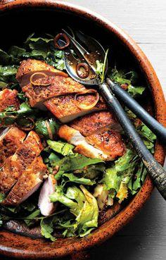 Crispy Chicken Breast w/ Chermoula and Escarole #paleo / Bon Appetit