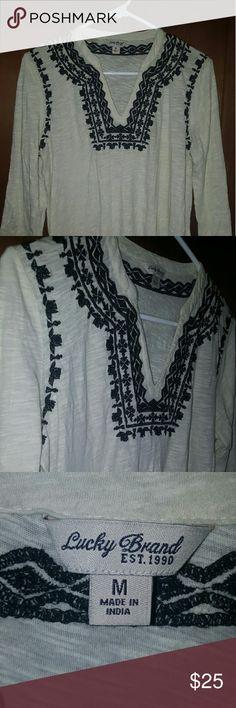 Lucky Brand tribal long sleeve White long sleeve with black tribal embroidery Lucky Brand Tops Blouses