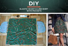 A line skirt with elastic waistband & pockets tutorial. Only 4 pieces of fabric to cut & assemble. I'll be making this tomorrow.