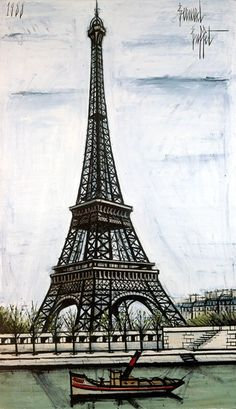 La tour Eiffel - 1988 oil on canvas - 195 x 114 cm by Bernard BUFFET ( 1928 - 1999 ) Tour Eiffel, Paris Torre Eiffel, Eiffel Tower Art, Illustrator, Paris Painting, Paris City, Art Moderne, French Artists, Land Scape