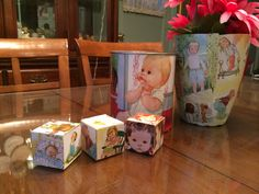 DIY Decoupage Little Golden Books Blocks & Party Decorations.