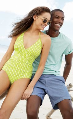 Trying a one piece out? I like this fun lime green style from J Crew. It instantly gets you out of mom-swimsuit territory :)