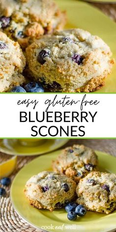 You will love these homemade lemon blueberry scones – so easy you can make them in one bowl and just drop them on a baking sheet! A simple gluten-free scone recipe with almond flour and honey. And they're dairy-free, grain-free, paleo, and vegetarian. Perfect as a healthy breakfast or snack! Healthy Blueberry Recipes, Gluten Free Blueberry, Healthy Muffin Recipes, Healthier Desserts, Healthy Snacks, Paleo Treats, Healthy Eats, Almond Flour Biscuits, Almond Flour Recipes