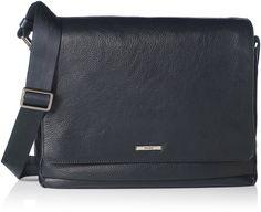 HUGO Hugo Boss Men's Element Leather Flap Messenger Bag, Dark Blue