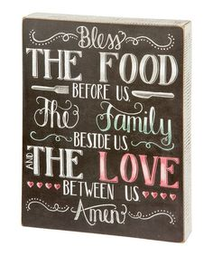 Primitives by Kathy Bless the Food Chalk Box Sign | zulily