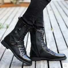 Retro Motorcycle Tactical Winter Boots Men Shoes Casual Belt Studs Soft Leather Summer Medium Leg Pleated Various Zip Tall