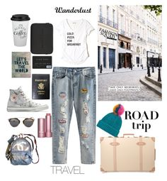 """Travel The World"" by stylesmanda on Polyvore featuring Converse, Mark Cross, Chanel, Trademark Fine Art, Globe-Trotter, Dauphine, Marc Jacobs, Christian Dior, Topshop and Hollister Co."