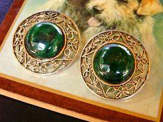 Vintage Dark Green Jade Like Gold Tone Filigree Clip On Earrings by dazzledbyvintage on Etsy