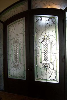 Grand Entry - by Art Glass Overlay Stained Glass Designs, Stained Glass Panels, Stained Glass Patterns, Leaded Glass, Beveled Glass, Stained Glass Art, Window Glass Design, Glass Partition Designs, Entry Doors With Glass