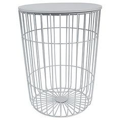 { Hudson Wire Frame Side Table } For next to the bed - the room is tiny, so I need furniture that doesn't take up much space. I might spraypaint the top copper to match. Wire Side Table, Narrow Side Table, Black Side Table, Ebay Office, Copper Bedroom, All White Room, White Rooms, 3d Modelle, Wall Finishes