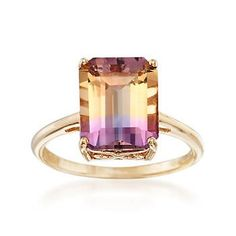 Get ready to wow with this 3.40 carat ametrine solitaire ring. Set on a polished band and openwork setting of 14kt yellow gold, the emerald-cut gemstone flashes a color gradient of purple and yellow. Each ametrine is unique and may vary. Ametrine solitaire ring. Free shipping & easy 30-day returns. Fabulous jewelry. Great prices. Since 1952.