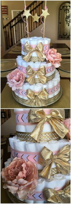 {Diaper cake} | pink and gold baby shower | baby shower decorations | baby shower gifts | diaper cake with flowers | diaper cake with bows | pink and gold diaper cake |
