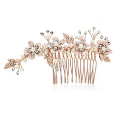 Lovely Rose Gold Floral Rhinestone and Pearl Wedding Comb - Affordable Elegance Bridal -