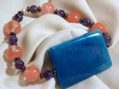 New Item.. Angelic Healing Agate, Cherry Quartz, Amethyst, Hematite beaded bracelet, Infused with Angelic Energy for your Healing and happiness by AngelTouchedJewelry on Etsy