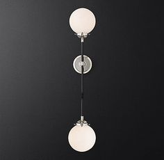 RH's Bistro Globe Grand Double Bath Sconce:Inspired by industrialism, our globe sconce& lines and spheres are reminiscent of an urban subway map.SHOP THE ENTIRE COLLECTION & Shop Lighting, Sconce Lighting, Interior Lighting, Modern Lighting, House Lighting, Lighting Ideas, Bathroom Lighting, Double Bath, Modern Sconces