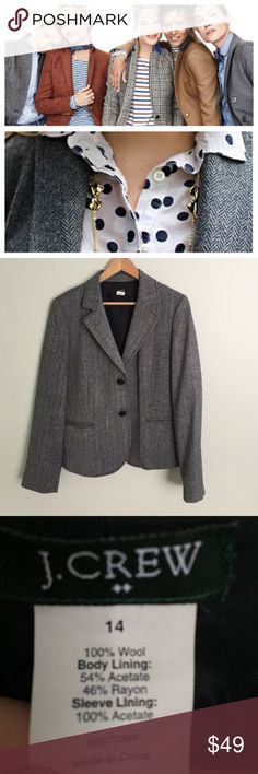 🆕Listing J CREW Herringbone BLAZER 14 This is a J CREW herringbone blazer size 14. EUC trouser pockets on front with two black buttons and 4 buttons on sleeves J. Crew Jackets & Coats Blazers