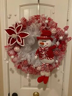 Christmas Swags, Christmas Door, Deco Mesh Wreaths, Holiday Wreaths, Christmas Snowman, Christmas Crafts, Christmas Decorations, Christmas Balls, Candy Cane Decorations