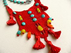 necklace# needleweaving#handmade#cotton threads#turquoise#glass beads