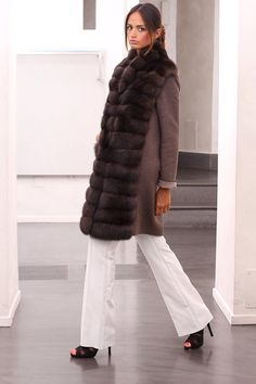 Loro Piana Cashmere Coat with Russian Barguzin Sable Fur