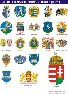 Hungarian County Coats of Arms - vector clipart, vector images Asian History, British History, British Empire Flag, Medieval, Hungary Flag, Strange History, History Facts, Tudor History, European History